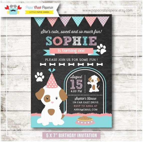 Dog Birthday Party Invitations Little Puppy Girl Chalkboard Birthday Party Invitation