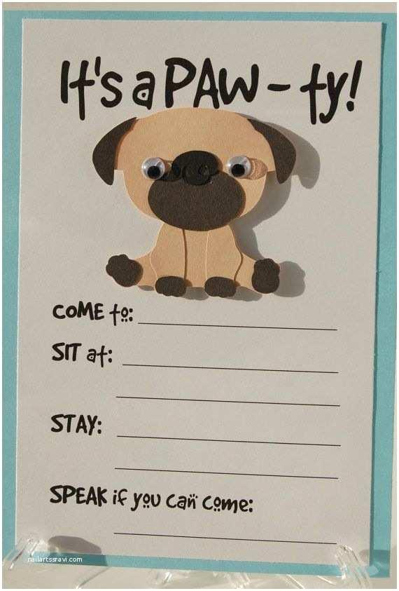 Dog Birthday  Invitations Pug  Invitation Puppy Birthday Invites Dog