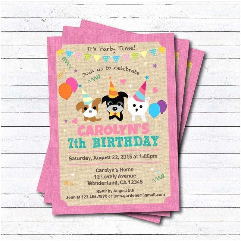Dog Birthday Party Invitations Puppy Dog Birthday Invitation Girl Boy Kids Birthday Any