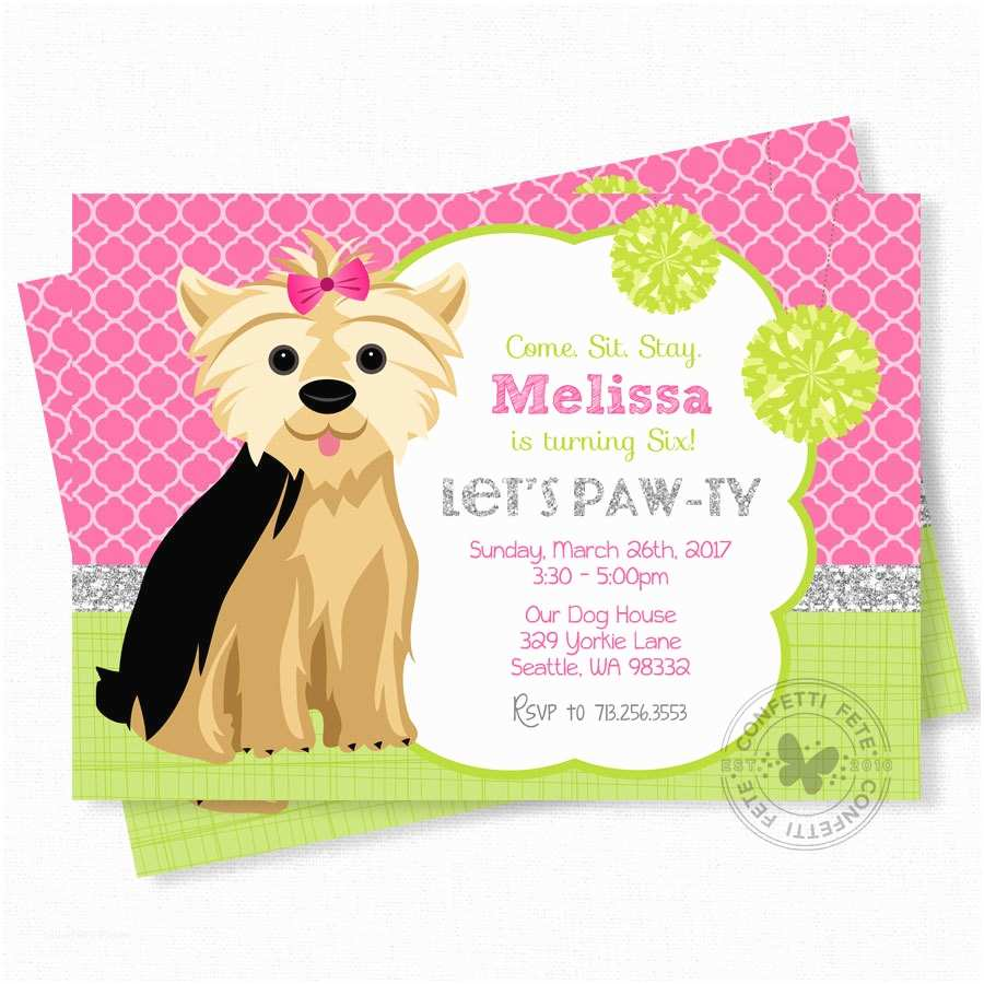 Dog Birthday Party Invitations Puppy Party Invitation Dog Birthday Invitation Yorkie