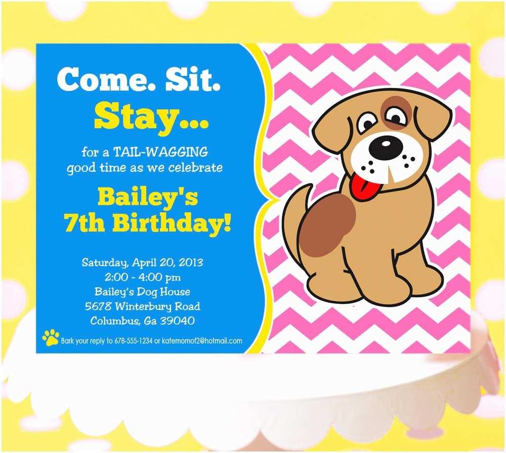 Birthday Party Invitations Puppy Party Invitation Puppy Birthday Invitation