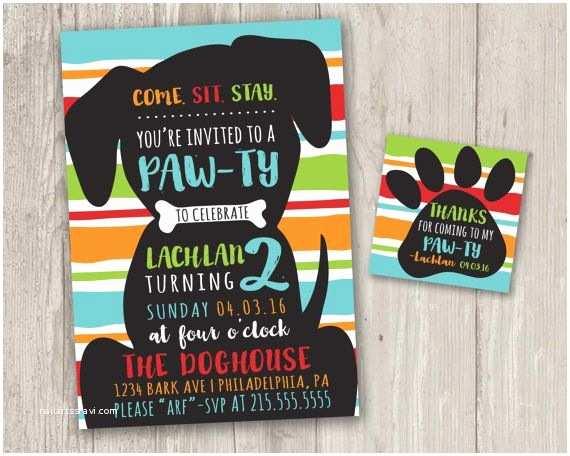Dog Birthday Party Invitations Puppy Pawty Invitation Puppy Birthday Party