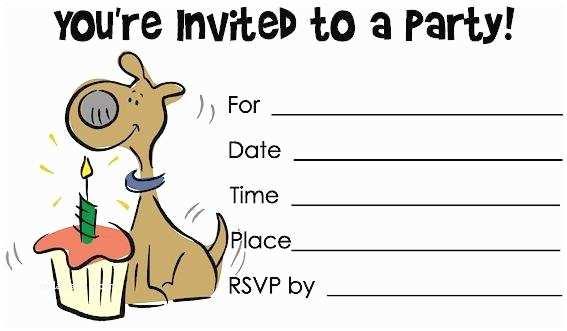 Dog Party Invitations Birthday A Cake