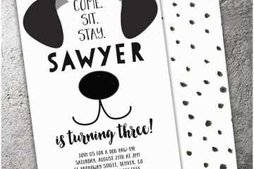 Dog Party Invitations Free Printable Black And White Birthday