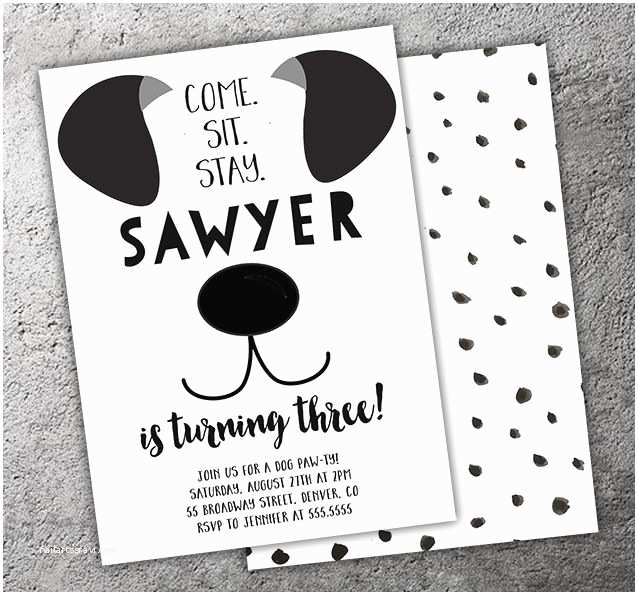 Dog Party Invitations Free Printable Black And White Birthday Invitation