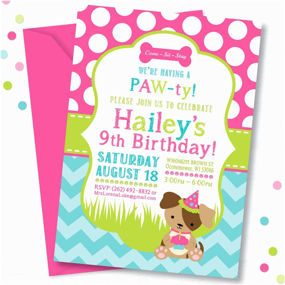 Dog Party Invitations Puppy Birthday Invitation