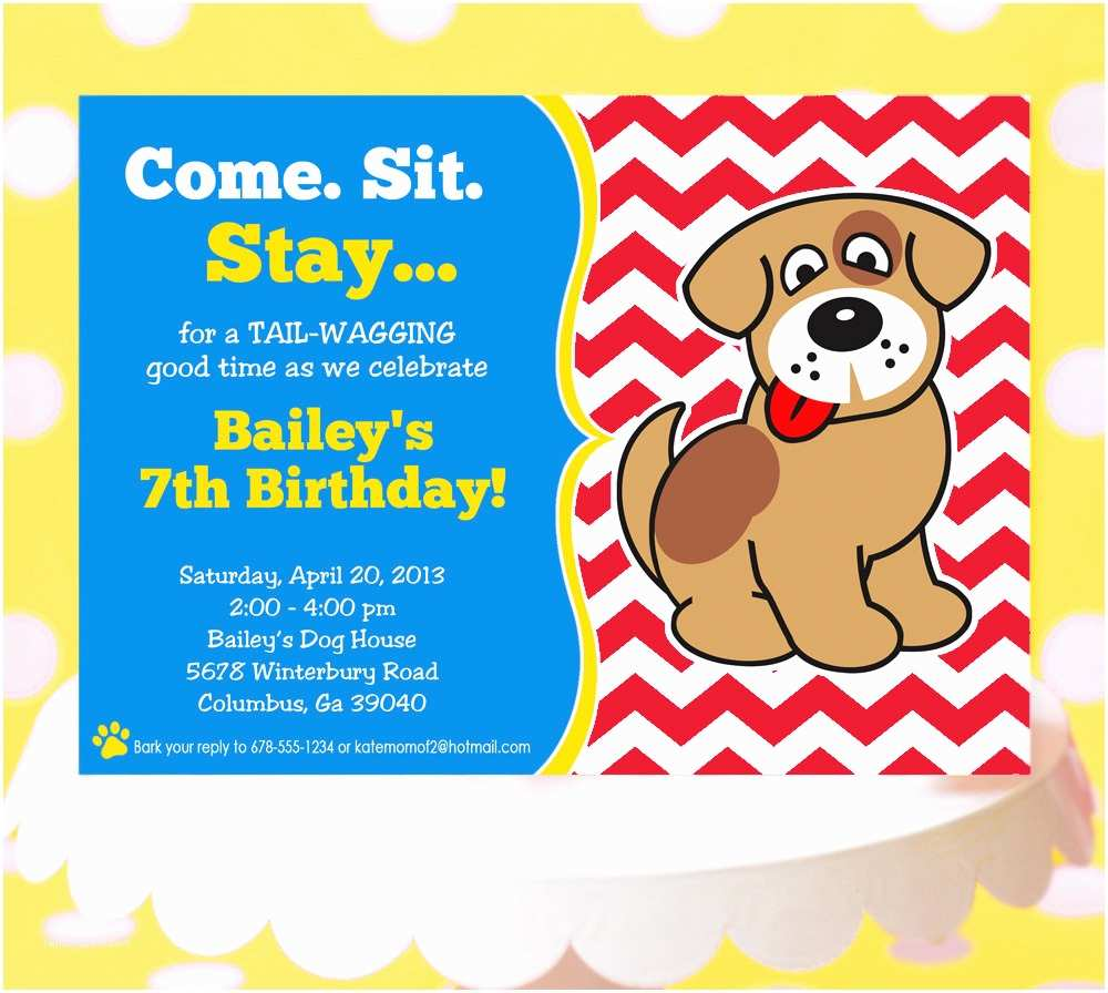 Dog Party Invitations Puppy Invitation Birthday Printable