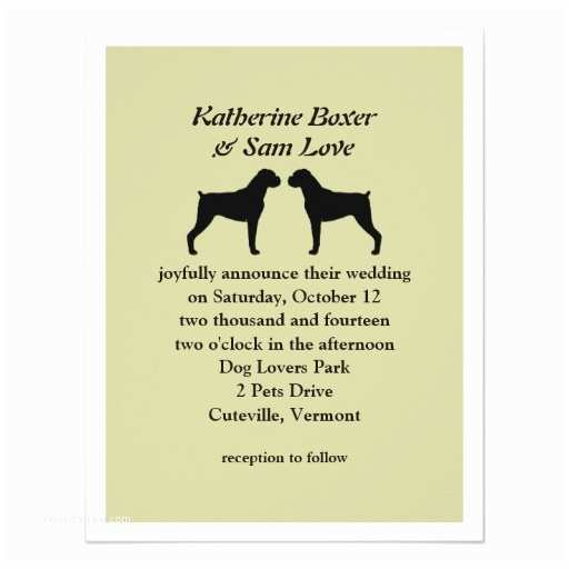 Dog Wedding Invitations Boxer Dog Silhouettes Wedding Invitation