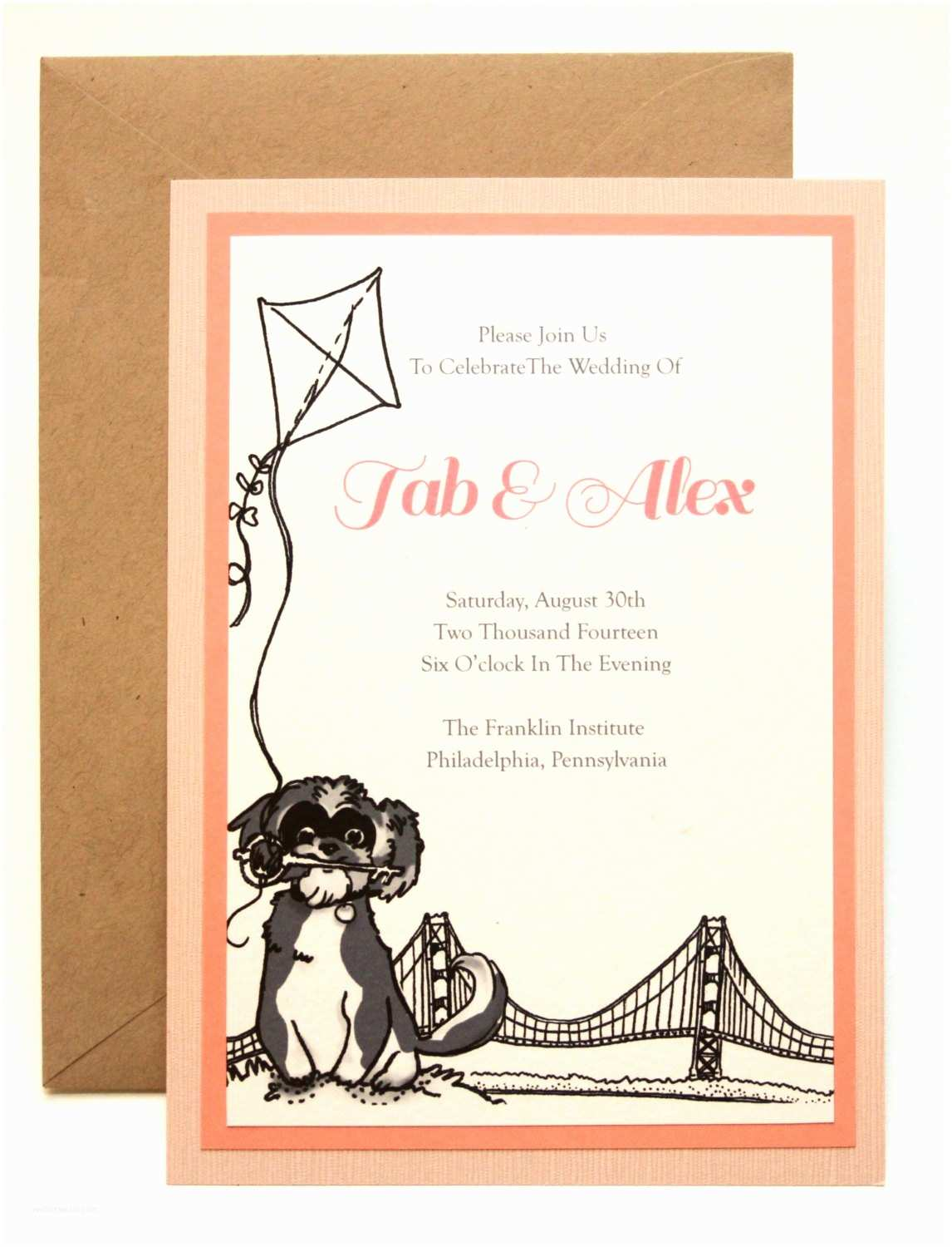 Dog Wedding Invitations Dog Cat Custom Wedding Invitation Set Pet Illustration