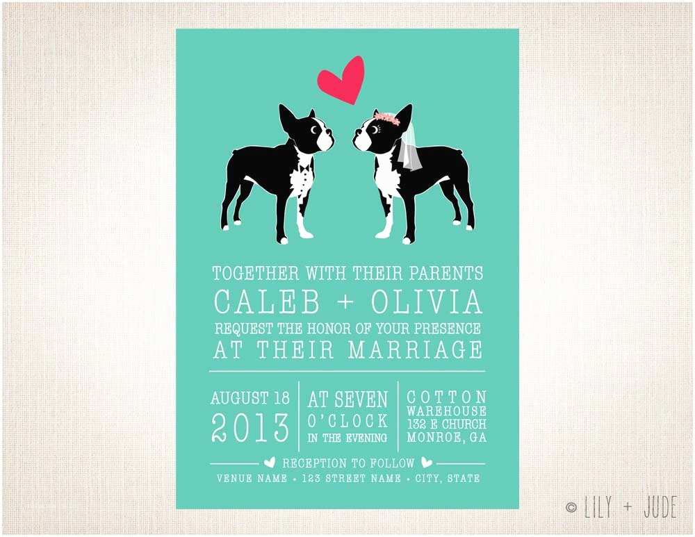 Dog Wedding Invitations Dog Wedding Invitation Boston Love Diy Digital by Lilyandjude