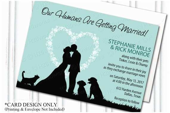 Dog Wedding Invitations Pets Wedding Invitation Blended Family Dog Wedding