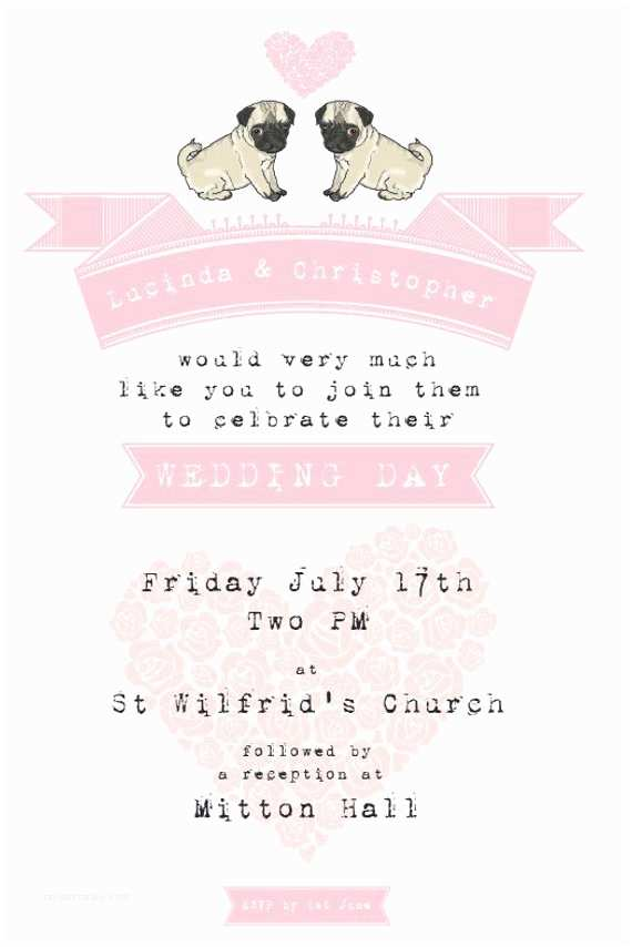 Dog Wedding Invitations Pug Dog Wedding Invitation