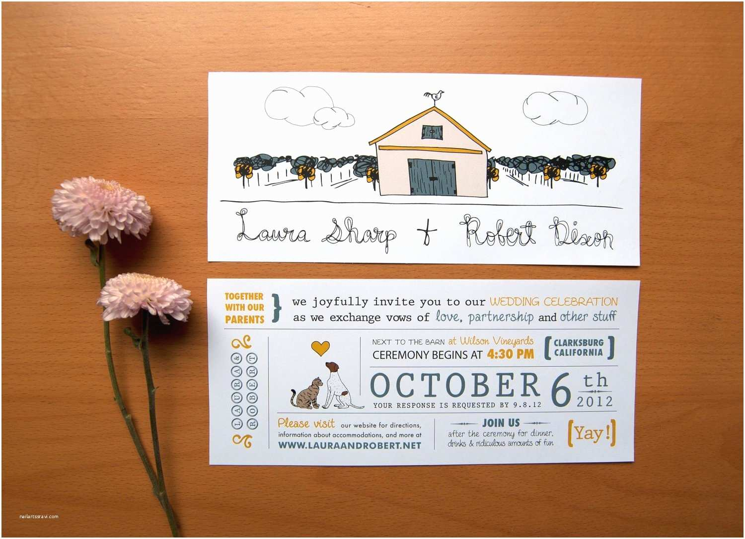 Dog Wedding Invitations Rustic Wedding Invitation Cat Loves Dog & by thatnoisegallery
