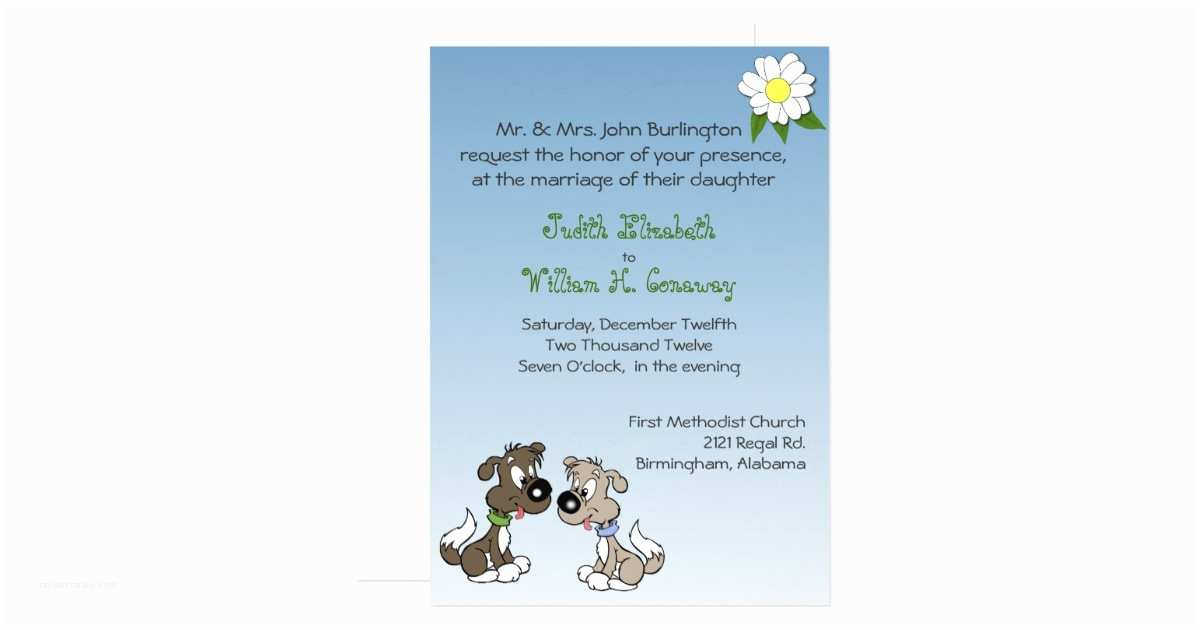 Dog Wedding Invitations Whimsical Cartoon Dogs Wedding Invitation