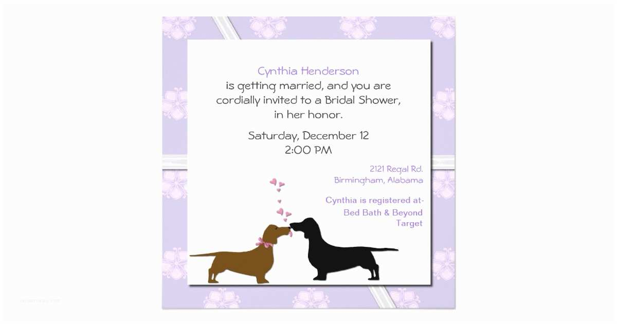 Dog Wedding Invitations Whimsical Dogs Bridal Shower Invitation