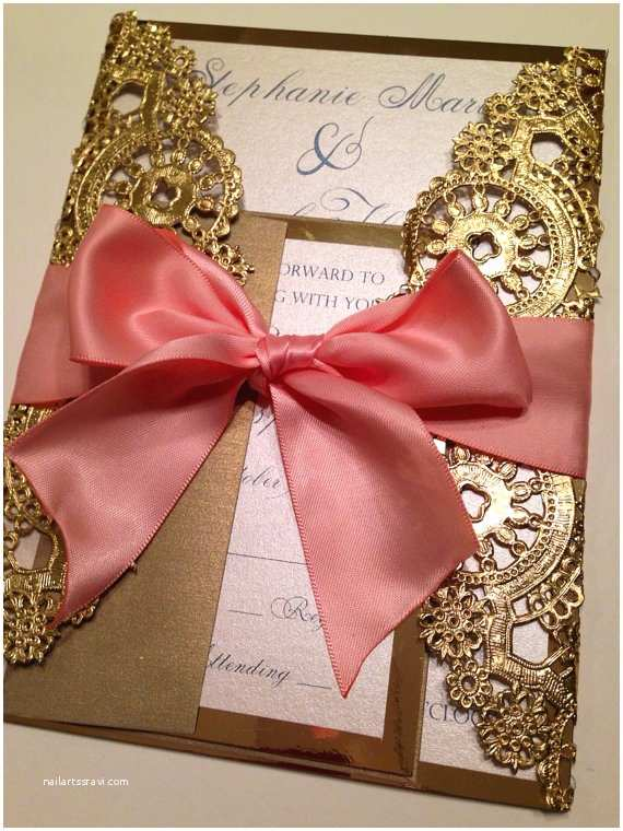 Doily Wedding Invitations Deposit Metallic Doilies Wedding Invitation by