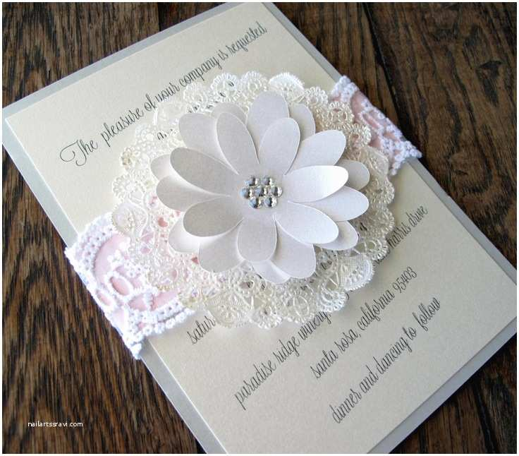 Doily Wedding Invitations Lace Doily Wedding Invitation Country Shabby Chic $8 00