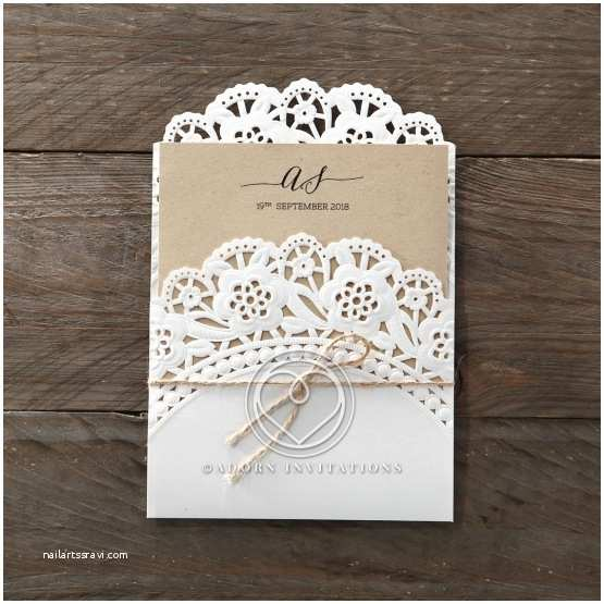 Doily Wedding Invitations Rustic Embossed and Laser Cut Lace Pocket Style with Twine