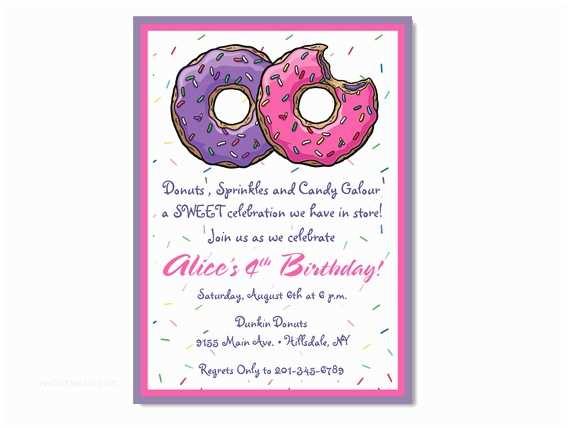 Donut Party Invitations Donut Birthday Invitation Custom Colors On Luulla