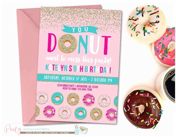 Donut Party Invitations Donut Birthday Invitation Donut Party Birthday Invitation