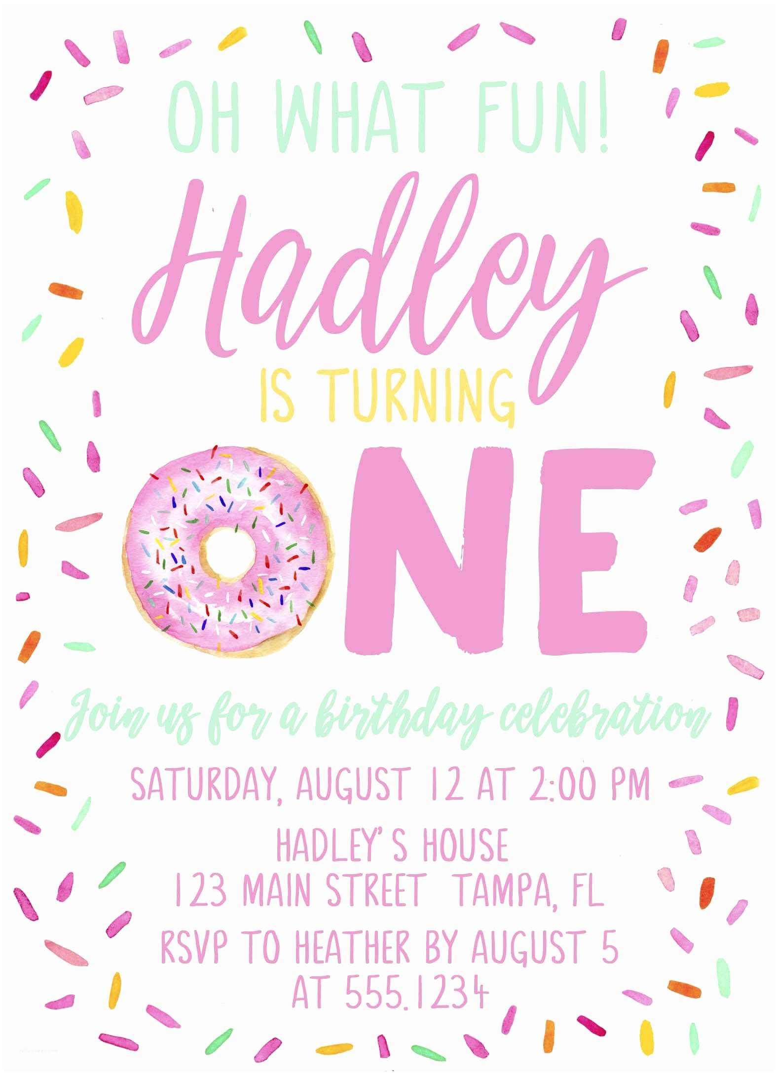 Donut Party Invitations Donut Birthday Invitation Doughnut Birthday Invitation