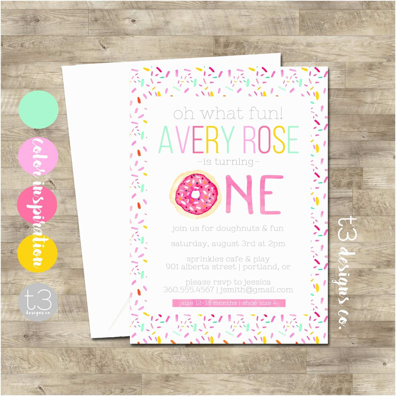Donut Party Invitations Donut Birthday Invitation Girl Birthday Invitation Doughnut