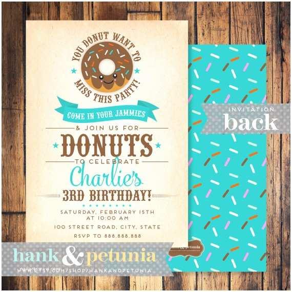 Donut Party Invitations Donut Birthday Party Invitation by Hankandpetunia On Etsy