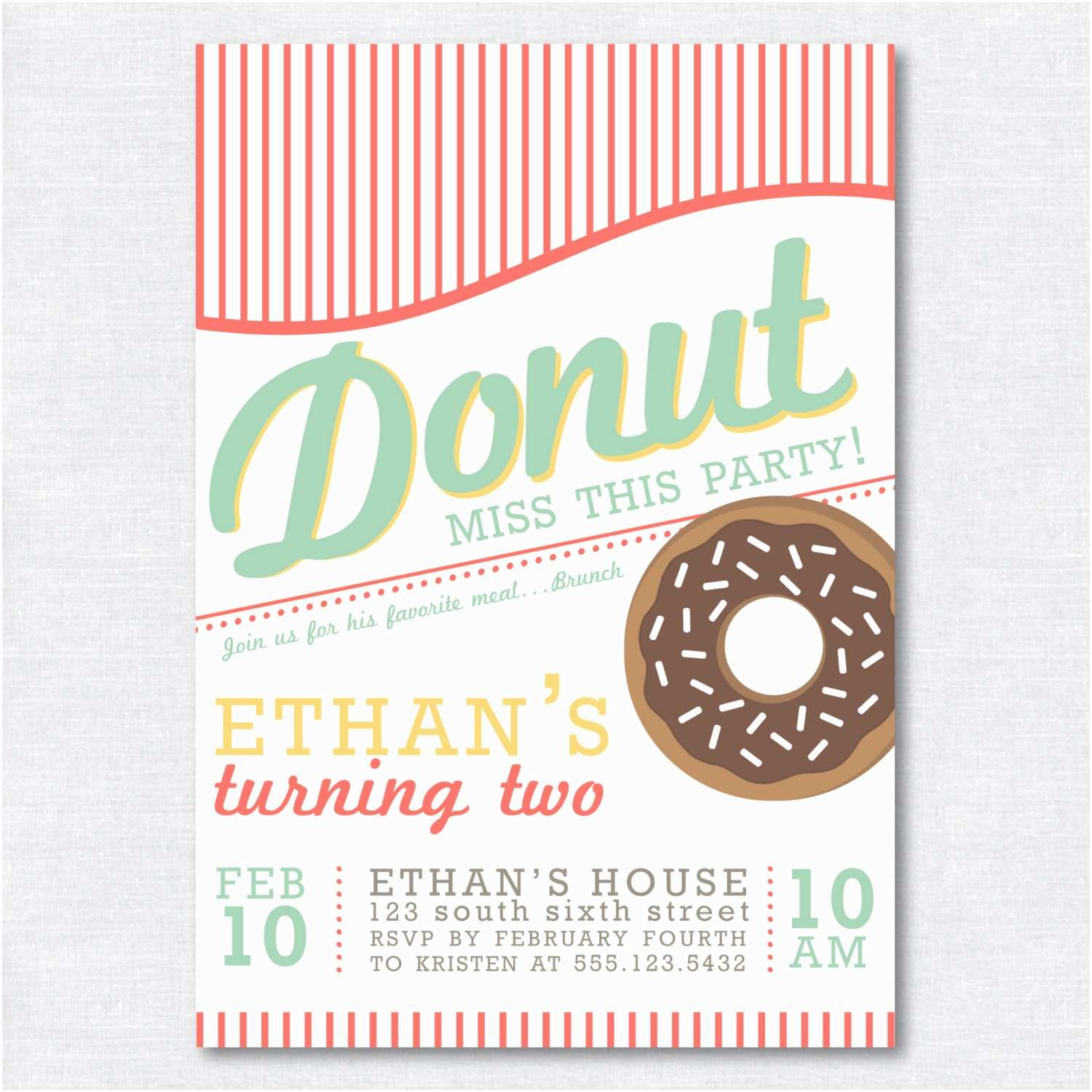 Donut Party Invitations Donut Birthday Party Invitation