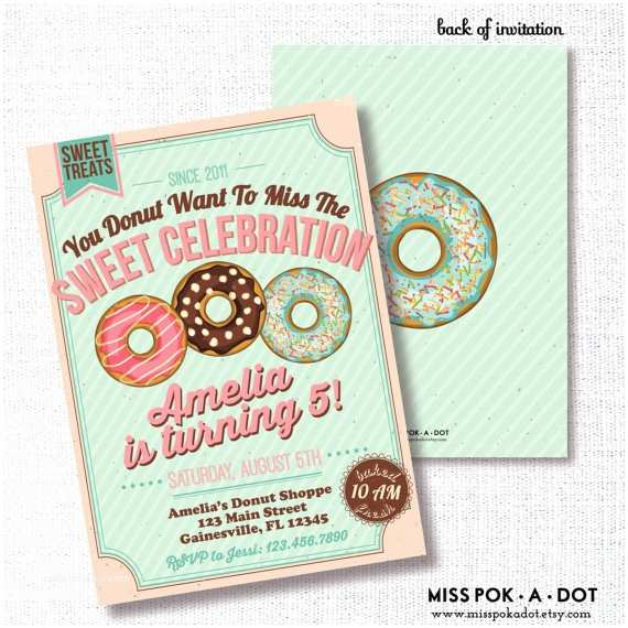 Donut Party Invitations Donut Birthday Party Invitation Printable Breakfast Birthday