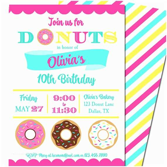 Donut Party Invitations Donut Birthday Party Invitation Printable or Printed with Free