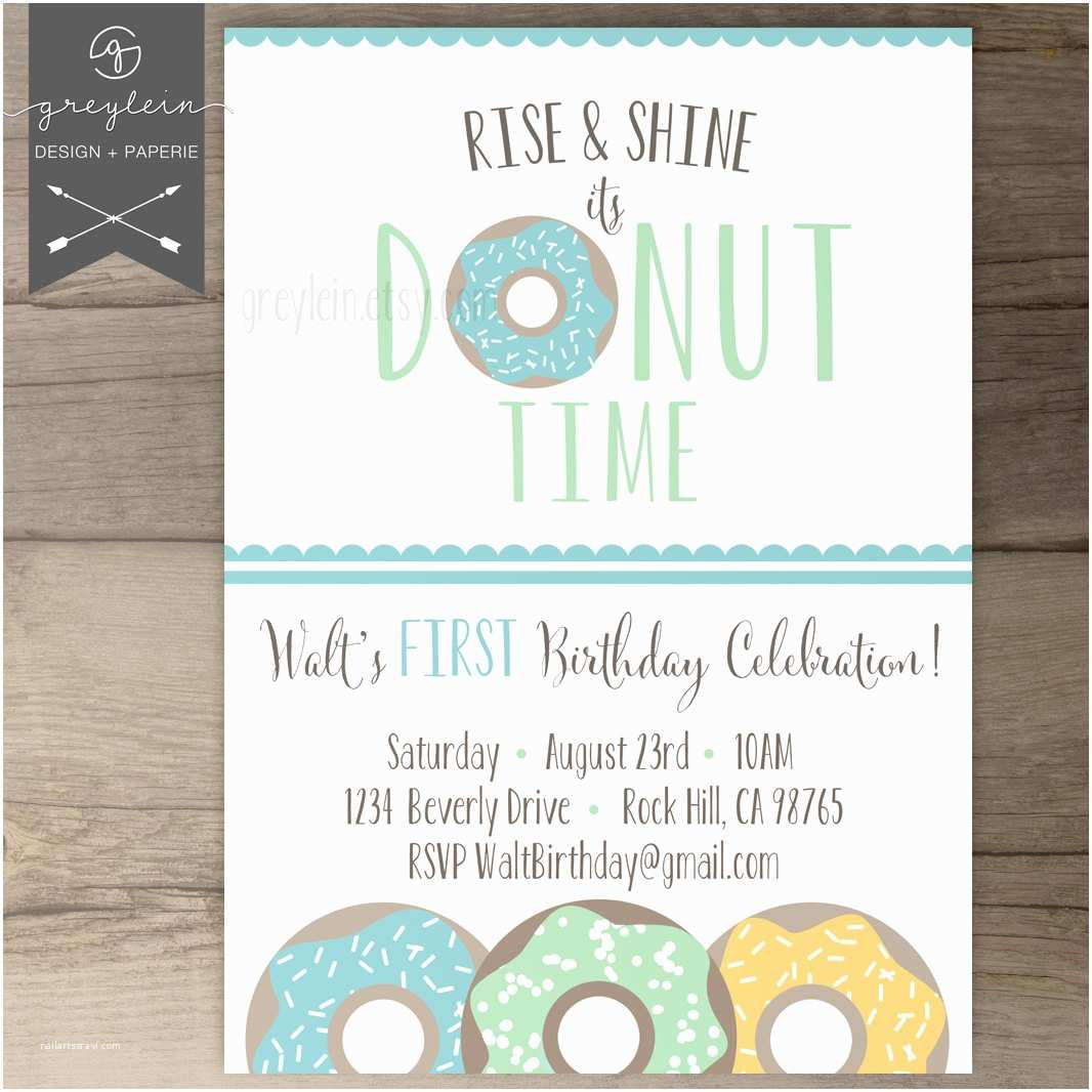 Donut Party Invitations Donut Birthday Party Invitations Invites Rise and by