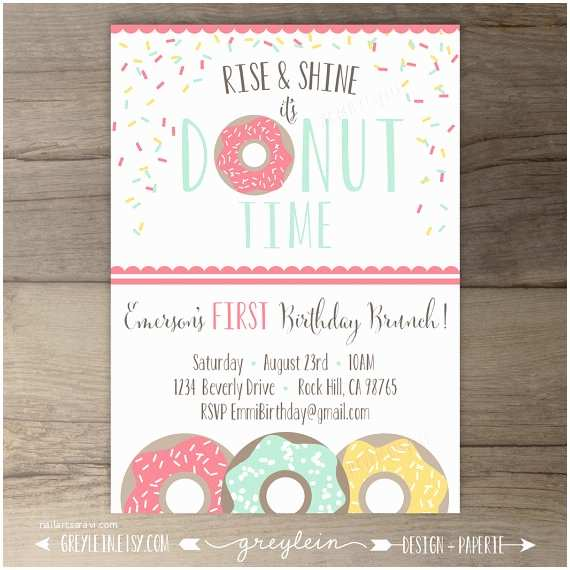 Donut Party Invitations Donut Birthday Party Invitations Invites Rise and Shine