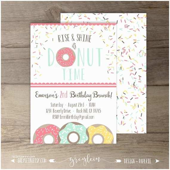 Donut Party Invitations Donut Birthday Party Invitations Invites Rise and Shine