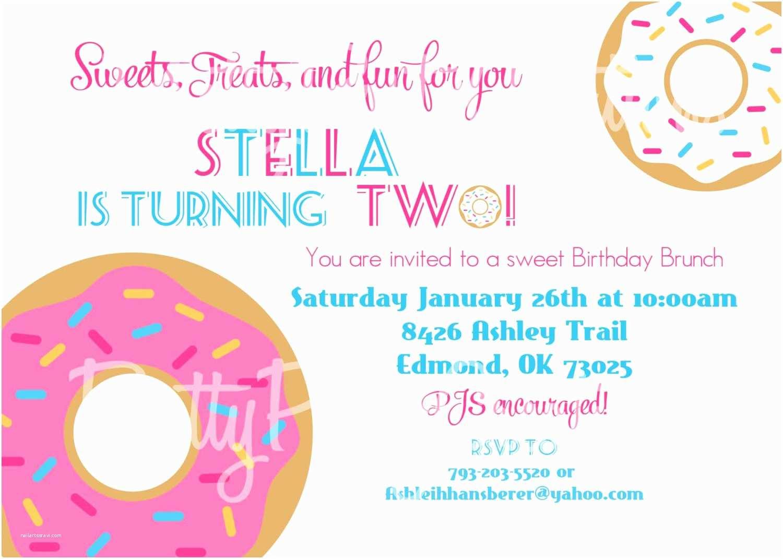 Donut Party Invitations Donut Birthday Shower Brunch Invitation You Print Any Age