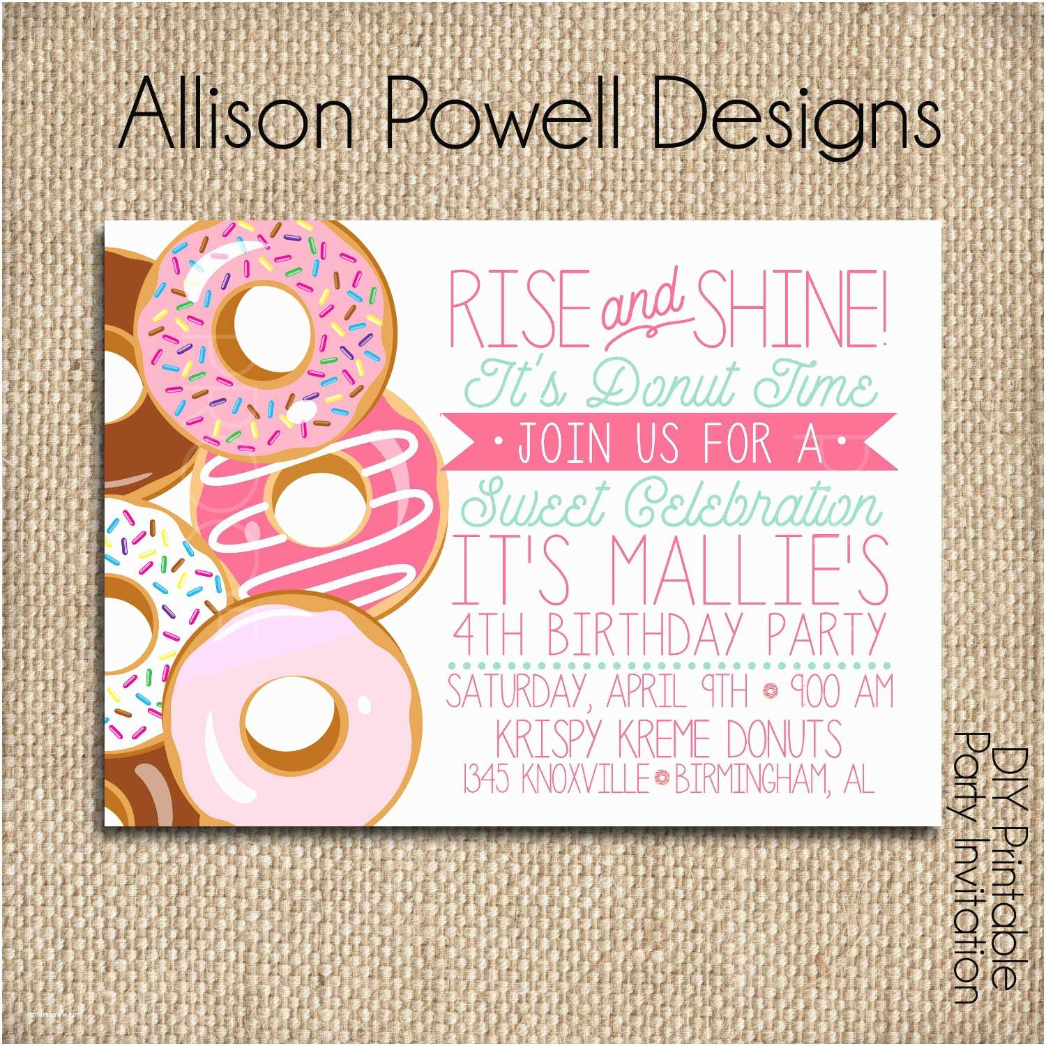 Donut Party Invitations Donut Doughnut Breakfast Pajama Birthday Party Invitation