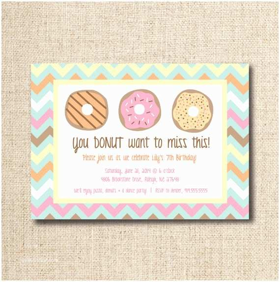 Donut Party Invitations Donut Doughnut Party Invitation Custom Printable File