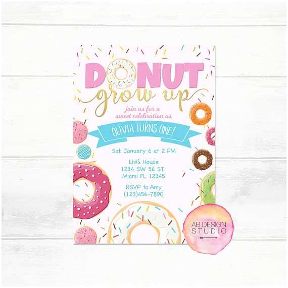 Donut Party Invitations Donut Invitation Donut Grow Up Donut Party Invitation