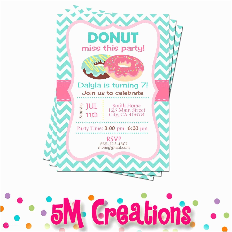 Donut Party Invitations Donut Party Invitation Donut Birthday Party Invitation