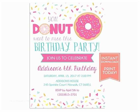 Donut Party Invitations Donut Party Invitation Template Birthday Printable Girls