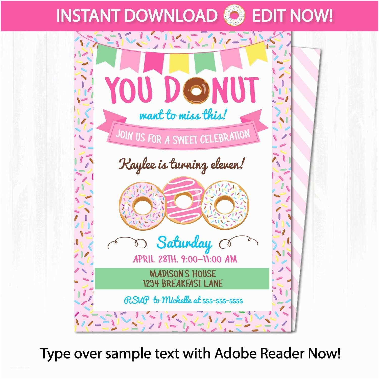 Donut Party Invitations Donut Party Invitations Donut themed Party by Arcticparty