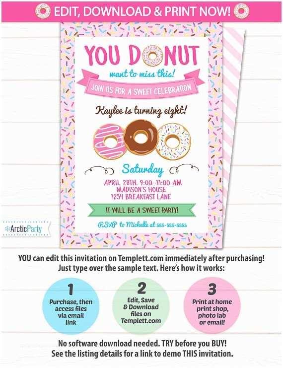 Donut Party Invitations Donut Party Invitations Donut themed Party Invitation