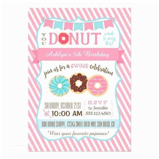 Donut Party Invitations Doughnut Donut Birthday Party Invitation Pink Girl