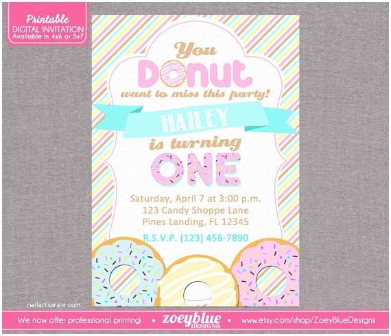 Donut Party Invitations Girl Donut Doughnut Printable Birthday Party Invitation