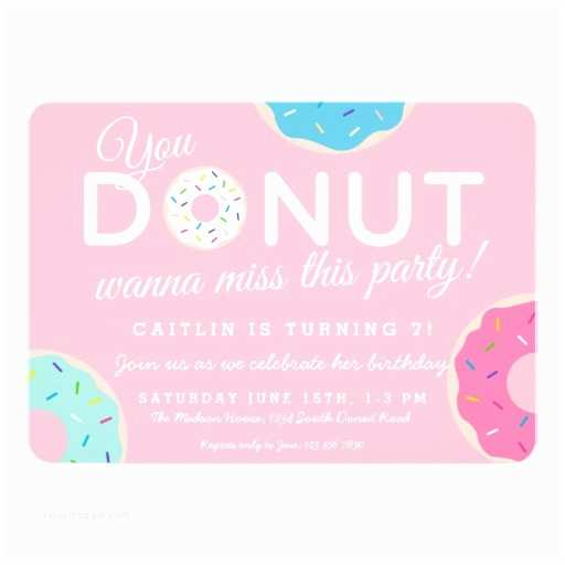Donut Party Invitations Pink Donut Party Invitation Donut Birthday Party