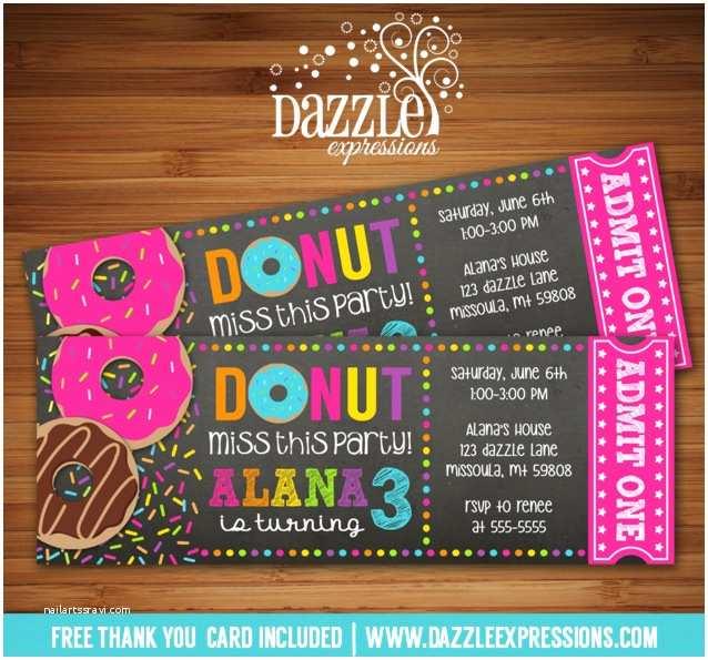 Donut Party Invitations Printable Donut Chalkboard Ticket Birthday Invitation
