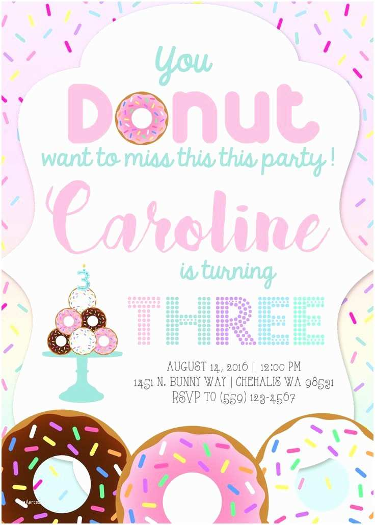 Donut Party Invitations You Donut Want to Miss This Party Donut Birthday Party