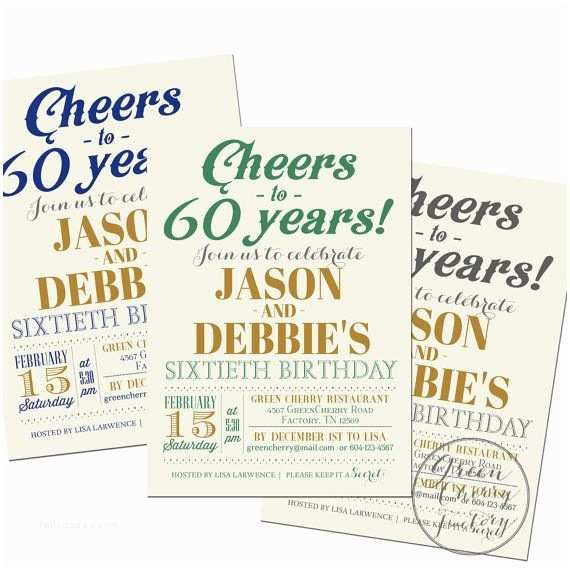 Double Birthday Party Invitations 17 Best Images About 60th Birthday Ideas On Pinterest