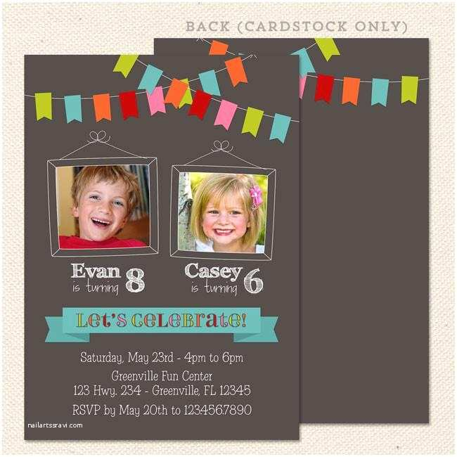 Double Birthday Party Invitations Bunting Joint Birthday Party Invitations – Lil Sprout