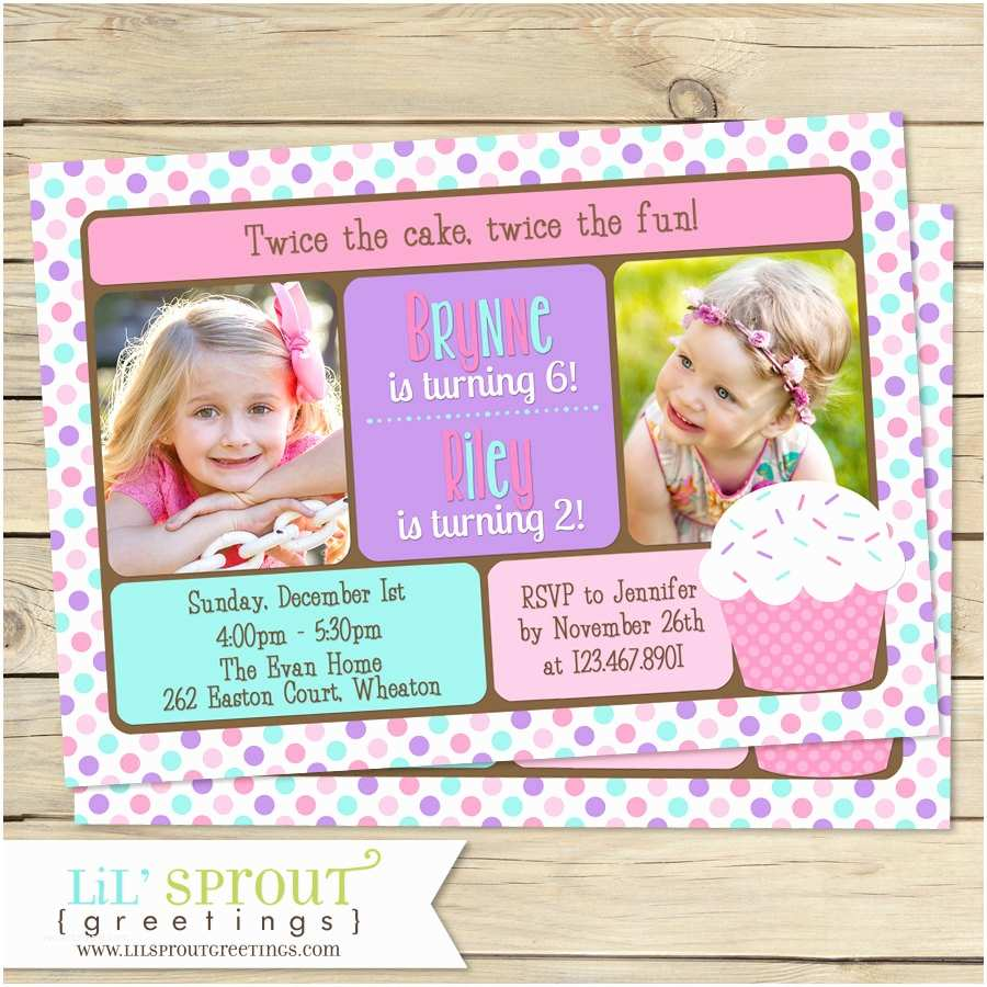 Double Birthday Party Invitations Double Birthday Invitation Pink Cupcake Sisters Birthday