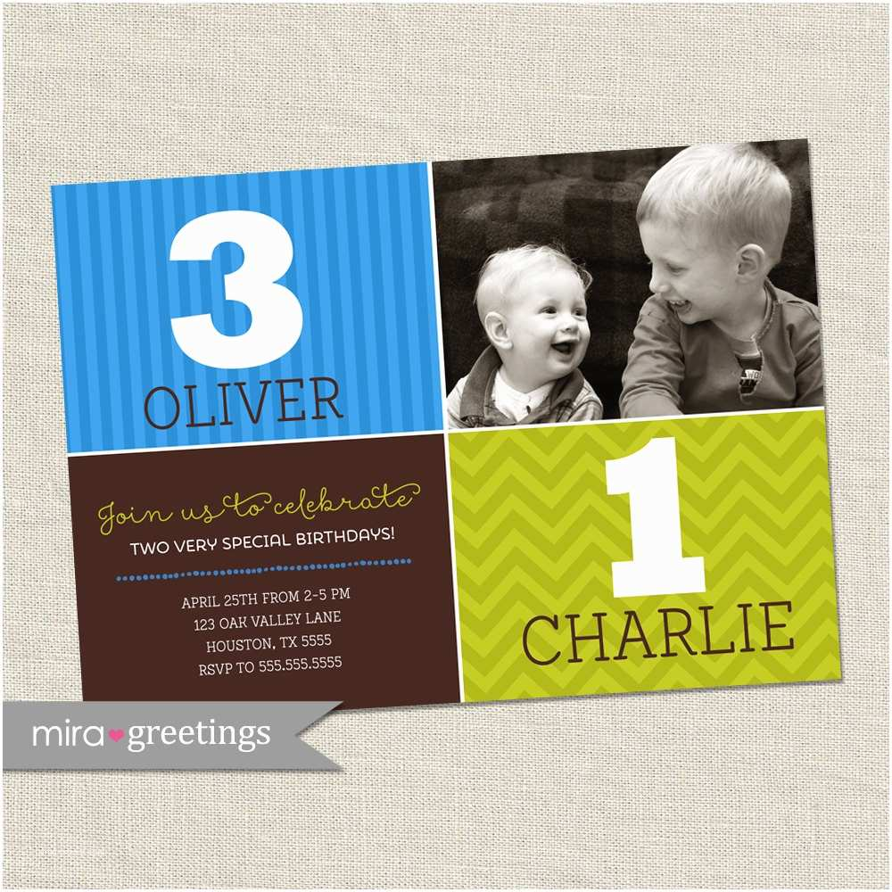 Double Birthday Party Invitations Double Birthday Party Invitation Brothers Joint Party Invite